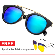 Diskon Besarcat Eye Retro Free Aviator Sunglasses Kacamata Wanita Black Chf 008 Grn
