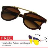 Promo Cat Eye Retro Free Aviator Sunglasses Kacamata Wanita Brown Chf 008 Brw Murah