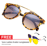 Cara Beli Cat Eye Retro Free Aviator Sunglasses Kacamata Wanita Brown Chf 008 Brw Leopard