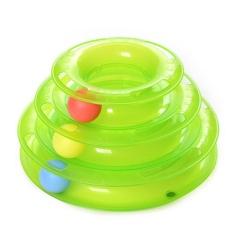 Cat Mainan Plastik Tunny Mainan With 3 Pelacakan Bola For Puppy & Kitten (hijau)-Intl