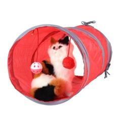 Cat Tunnel Toy Bermain Tabung With Tinkle Bell Plush Ball Merah Oem Murah Di Tiongkok