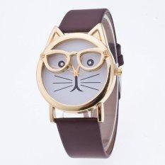 Ongkos Kirim Kucing Menonton With Kacamata Fashion Wanita Arloji Kuarsa Coklat International Di Tiongkok