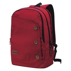 Catenzo Backpack Tas Laptop Ransel Canvas Rain Cover - Merah