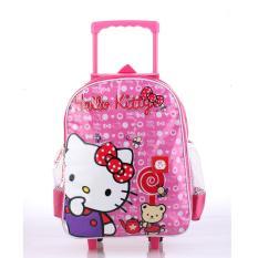 Catenzo Junior Tas Ransel Troli Backpack Roda Punggung Gendong Sekolah Anak Perempuan Hello Kitty - Pink