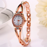 Obral Catwalk Quartz Stainless Steel Analog Gelang Wrist Watch Emas Putih Murah
