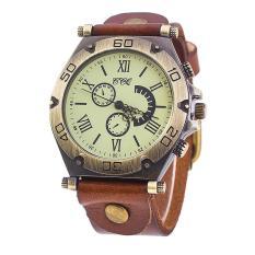 Ccq Merek Mewah Vintage Leather Watch Pria Women Wrist Watch Gaun Wanita Jam QUARTZ Kopi Intl