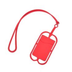 Silicone Cell Phone Dompet Casing Kredit Kartu IDENTITAS Bag Holder Pocket dengan Lanyard Merah-Intl