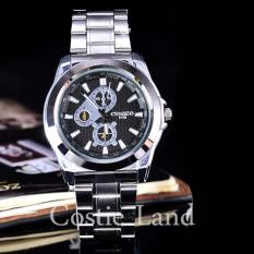Cenozo - Jam Tangan Pria - Body Silver - Black Dial - Stainless Steel Band -