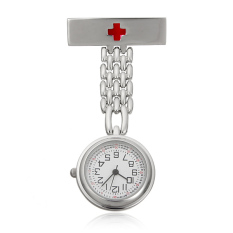 Cuci Gudang Channy Stainless Steel Medis Dokter Perawat Cross Bros Jubah Fob Quartz Pocket Watch Silver Intl