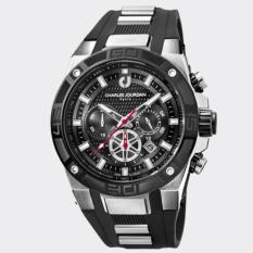 Charles Jourdan Jam Tangan Pria Charles Jourdan CJ1013-1332C Chronograph Black Silicone Watch