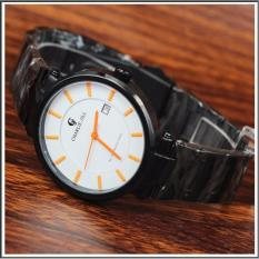 Charlie Jill 1428mb Orange jam tangan pria strap stainless-hitam