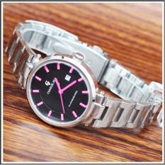 Charlie Jill 1428ms plat hitam jam tangan wanita strap stainless-silver