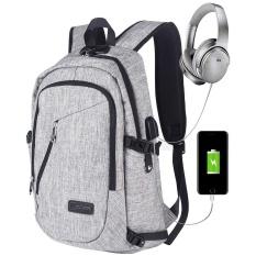 Chechang Bisnis Tahan Air Poliester Laptop Ransel dengan USB Pengisian Port dan Mengunci Cocok Dibawah 17-Inci Laptop dan buku Catatan (Biru) -Internasional