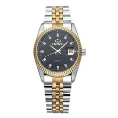 Review Chenxi Gold Watch Mens Luxury Business Clock Full Steel Quartz Watch Black Intl Terbaru