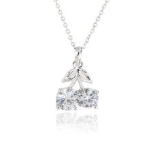 Cherry Berbentuk 18 K Platinum Berlapis Liontin Kalung dengan Austria Zircon (Perak)-Intl