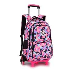Chic Girls Boys Anak Trolley Backpack dengan 6 Roda Anak Roda Sekolah Tas Hitam-Intl