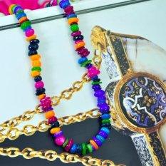 CHIC LADY Girls Multicolor Sea Shell Bentuk Longgar Tidak Beraturan Beads Kalung Gelang 5-8mm Perhiasan Jual (Multicolor) -Intl