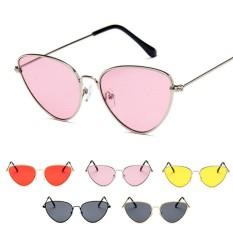 Toko Chic Wanita Cat Eye Sunglasses Retro Logam Baru Fashion Protection Ocean Mirror Sunglass Uv400 Golden Black Silver Frame Intl Terdekat