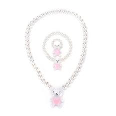 Kalung Manik Putri Anak Gadis Bayi & Gelang & Ring Set Perhiasan Hadiah-Intl