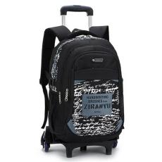 Anak-anak Trolley Backpack Tas Sekolah dengan 6 Roda Kids Rolling Tas Beroda Panas Abu
