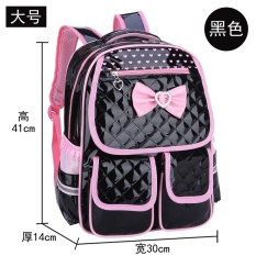 Children's schoolbag pupils Ultralight waterproof PU Leather backpack cute girls burst models bag a generation of fat global StationBlack - intl