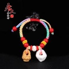 Keluarga Cina Bayi dan Anak Bayi untuk Menangkal Kejahatan Gelang String Merah Peach Pig Bone Takut Vermilion Mahogany Peach Basket Lanyard Warna-warni-Intl