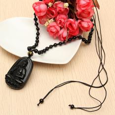Chisese Yang Alami Hitam Seperti Obsidian Ukiran Buddha Beruntung Amulet Liontin Nacklace Promo Beli 1 Gratis 1