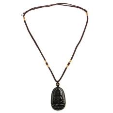 Chisese Alami Hitam Obsidian Ukiran Budha Keberuntungan Amulet Liontin + Kalung-Internasional
