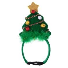 Natal Hiasan Kepala Ikat Kepala Dekoratif Meriah Xmas Pohon Peliharaan Aksesoris (Hijau)-S-Internasional