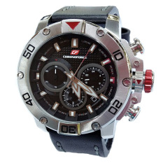 Chronoforce Jam Tangan Pria - Leather Strap - BLack - CR5257 Silver Black
