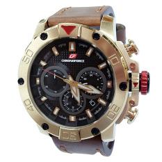 Chronoforce Jam Tangan Pria - Leather Strap - Brown - CR5257 Brown Gold