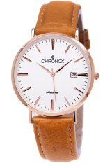 Chronox 1002 Brown Leather White Rose Gold - Jam Tangan Pria Analog  CX-1002B1M fcd5a76a8f
