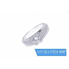 Cincin ADELINE Silver 925 - Berlapis Emas Putih - Size 5