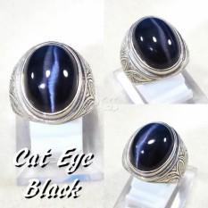 CINCIN BATU AKIK BLACK CAT EYE PRESISI GARIS TENGAH