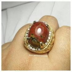 Cincin Batu Akik Merah/Red Jasper Kristal
