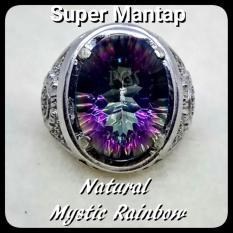 CINCIN BATU AKIK PERMATA NATURAL MYSTIC RAINBOW QUARTZ RING ALPAKA SUPER GLAMOUR TERMURAH SIZE KANTORAN !!!