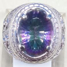 CINCIN BATU AKIK PERMATA NATURAL MYSTIC RAINBOW QUARTZ RING ALPAKA SUPER MURAH