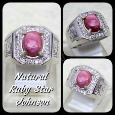 CINCIN BATU AKIK PERMATA NATURAL RUBY STAR JOHNSHON RING ALPAKA SUPER MEWAH GLAMOUR INDAH MEMPESONA TERMURAH !!!