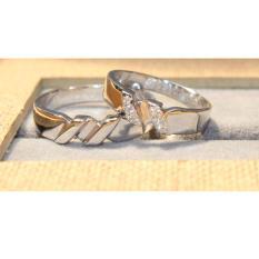 Cincin couple emas putih 14k AuAg