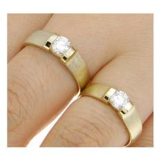 Cincin Couple Perak Tunangan dan Nikah C-45 Lapis Emas