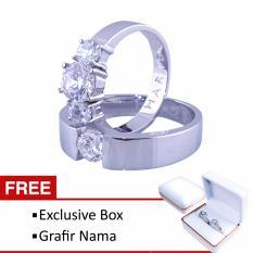 Cincin Couple Perak Tunangan dan Nikah CK-19 Permata American Diamonds Exlusive