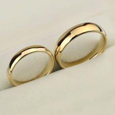 Cincin Couple Pria Wanita Gold Kuning Emas Slim Polos Titanium Stainless Steel 316L
