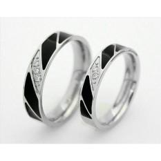 cincin couple titanium anti karat dan hitam - 4