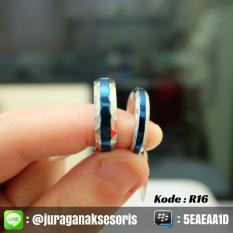 Cincin Couple Titanium Blue Line + Ukir Nama + Box Cincin - Dgvcd1