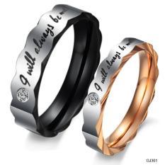 Cincin Couple Titanium Ukir Nama R4 + Box Beludru Bonus 2 Gelang - Jyhphe