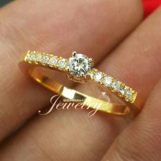 Cincin Emas 18K Berlian Eropa Asli Putih Tunangan Pernikahan Murah Zc1 - Y1eh3q