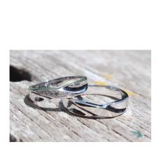 Cincin emas putih 18k AuAg couple