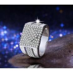Cincin Emas Putih Pria Micro Paved Berlian Batu Kecil Imitasi