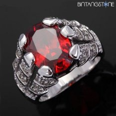 Cincin Import Red Ruby 18K White Gold Filled Mans Claw Ring Size 9