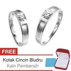 Cincin Kawin Couple Perak Lapis Rhodium E.16b - Silver Exclusive